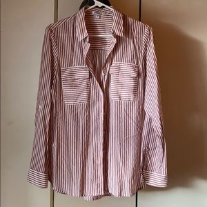 Dusty pink and white striped long sleeve